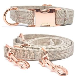 New tweed tan and red striped dog collar and leash